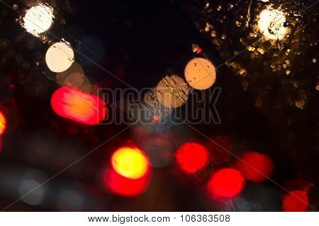Car Lights In Rain