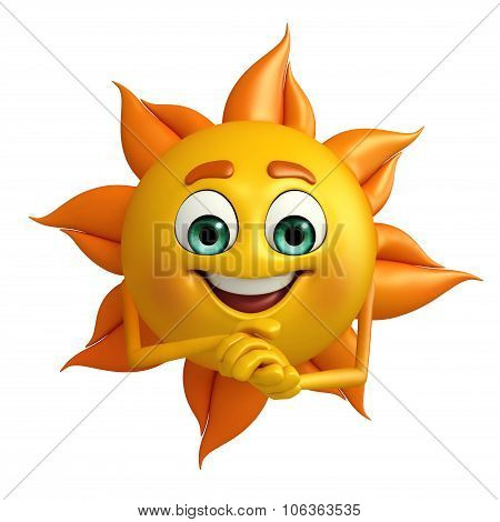 Sun Character With Promise Pose