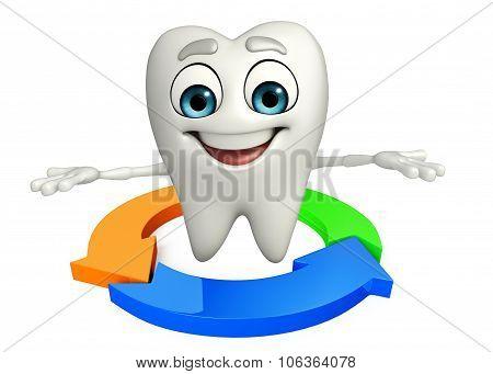 Teeth Character With Arrow