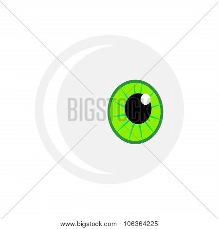 Halloween Eyeball Vector Symbol. Green Pupil Eye Illustration Isolated On White Background.