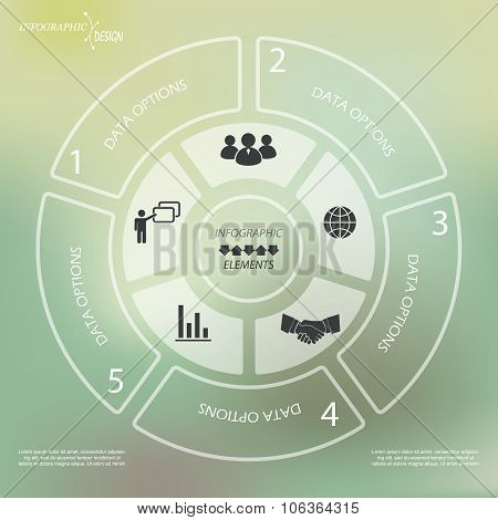 Circle Infographic Template For Business Project Or Presentation On Green Background
