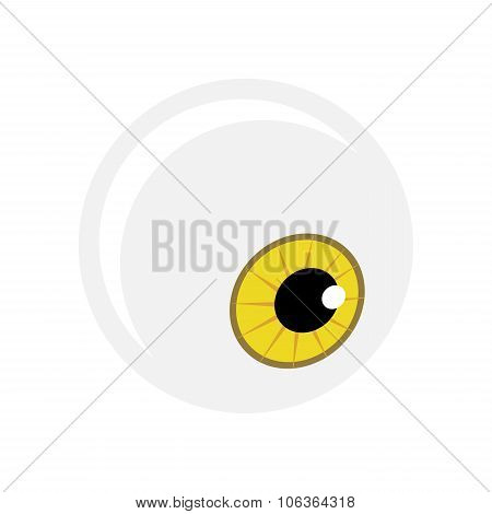Halloween Eyeball Vector Symbol. Yellow Cartoon Pupil Eye Illustration Isolated On White Background.