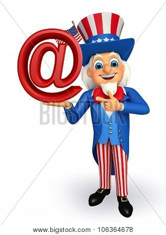 Uncle Sam With At The Rate Sign