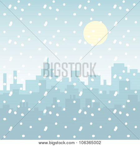 Snowfall City Building Silhouette