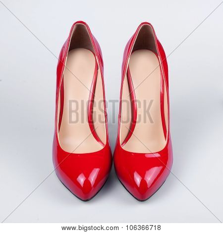 Ladies Red Patent Leather Shoes