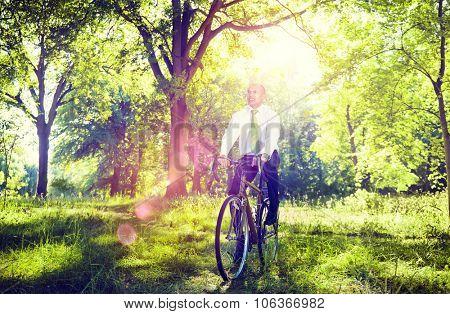 Conservative Businessman Bike Bicycle Eco Friendly Concept