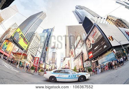 Fisheye Lens Photo Of A Nypd Patrol Car Parked At The Times Square