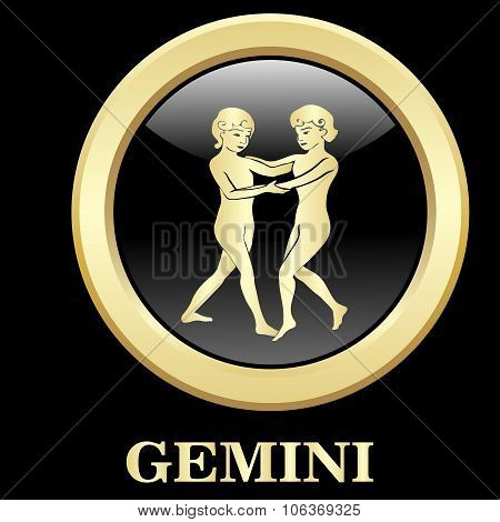 Gemini Zodiac Sign In Circle Frame