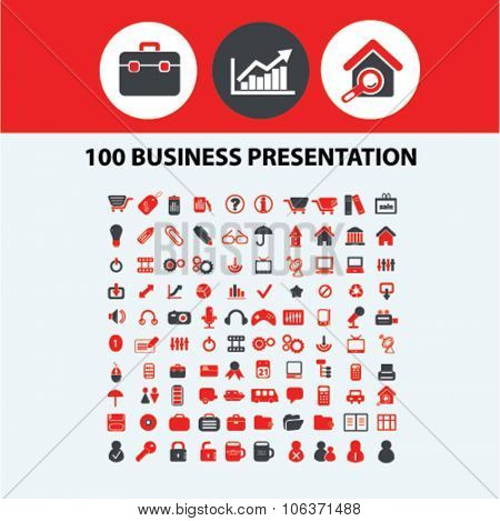 100 business presentation, marketing, market icons, signs set for infographics