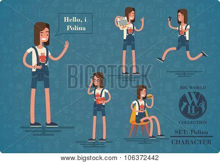 schoolgirl Polina in white T-shirt