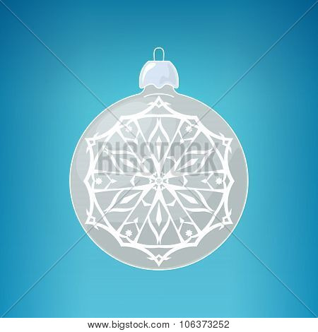 Silver Ball With Snowflake , Merry Christmas