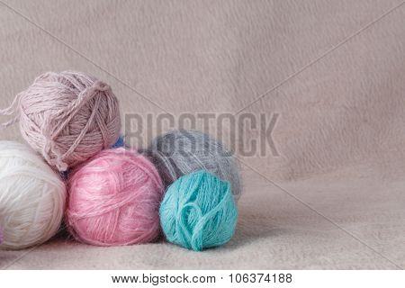 Leisure Concept. Ball Of Yarn For Needlework