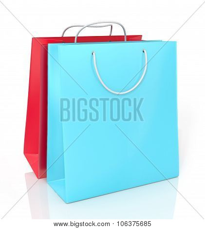 Two Color Paper Shopping Bags On A White Background.