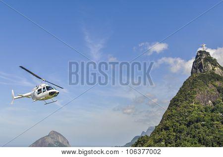 Christ The Redeemer And A Helicopter, Rio De Janeiro, Brazil