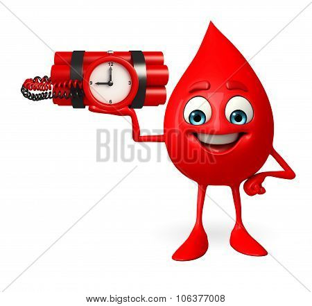 Blood Drop Character With Time Bomb