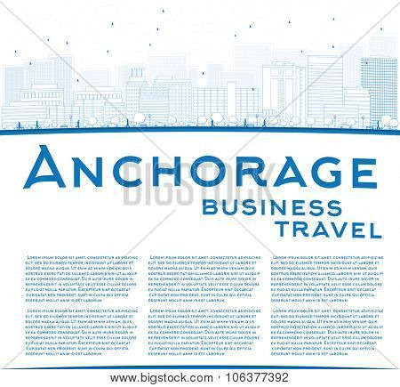 Outline Anchorage (Alaska) Skyline with Blue Buildings and copy space. Business and tourism travel concept with place for text. Image for presentation, banner, placard and web site