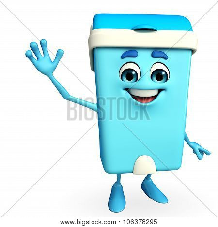 Dustbin Character With Happy Pose