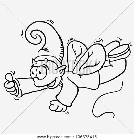 simple black and white flying elf cartoon