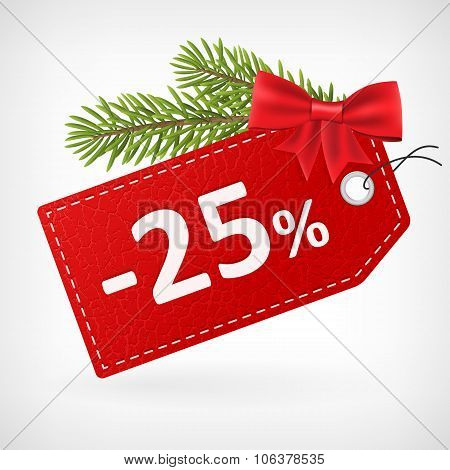 Red Leather Price Christmas Labels 25 Twenty-five  Percent Sale Off