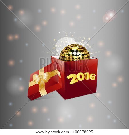 Christmas Gift Box And Disco Ball Background