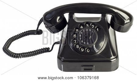 Black Bakelite Telephone Isolated with Clipping Path