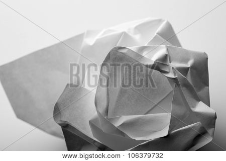 Crumpled paper in B-W. Macro view