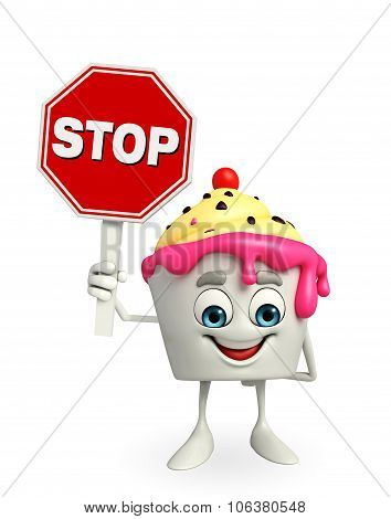Ice Cream Character With Stop Sign
