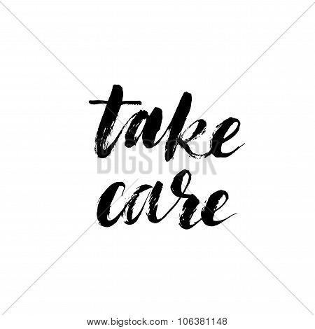 Take Care Card. Ink Illustration.