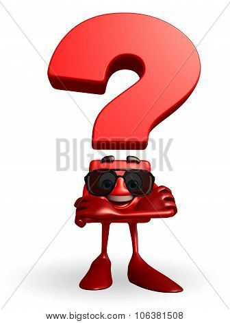 Question Mark Character With Folding Hand