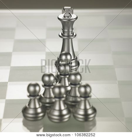 king and the follower pawn