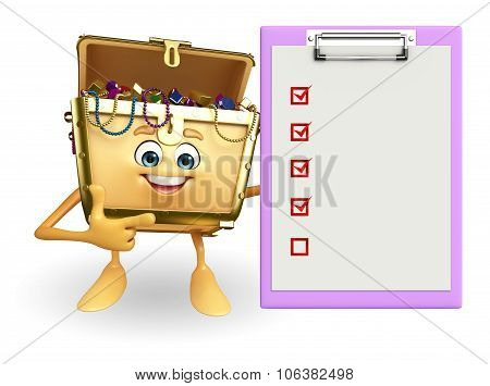 Treasure Box Character With Notepad