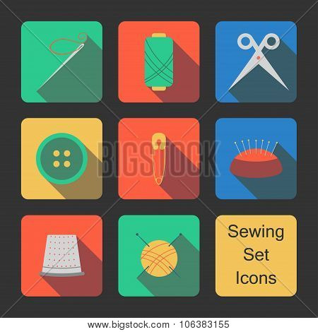 Sewing set icons