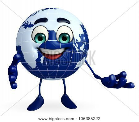 Earth Character With Presenting Pose
