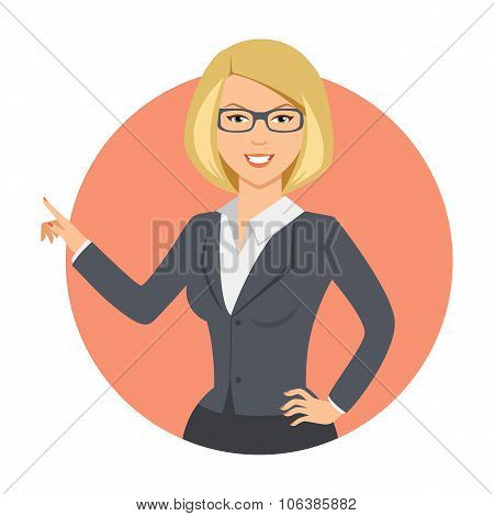 Businesswoman pointing with her finger