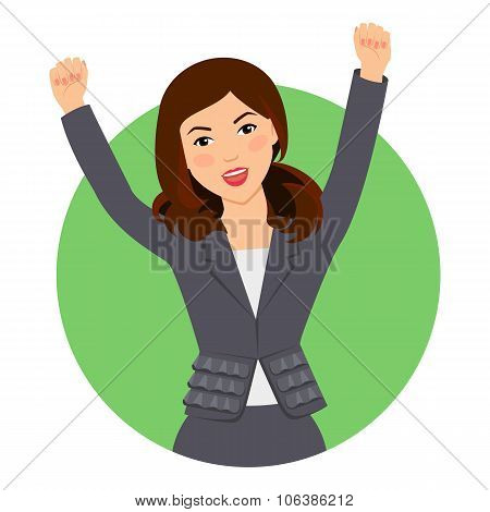 Excited businesswoman in suit