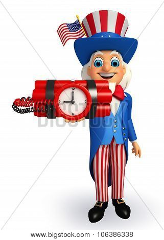 Uncle Sam With Time Bomb