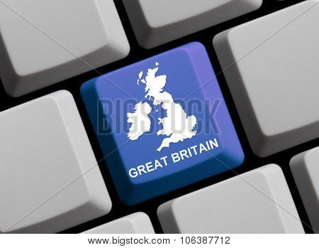 Computer Keyboard - Outline Of Great Britain