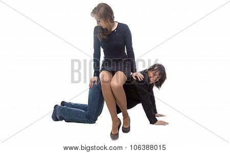 Woman sitting on happy man