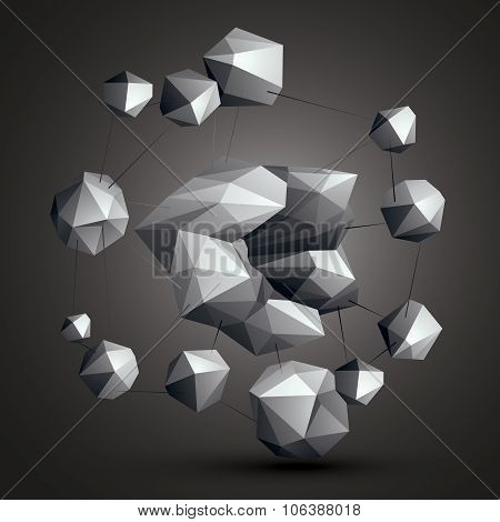 3D Vector Abstract Technology Illustration, Perspective Geometric Unusual Object. Origami Grayscale