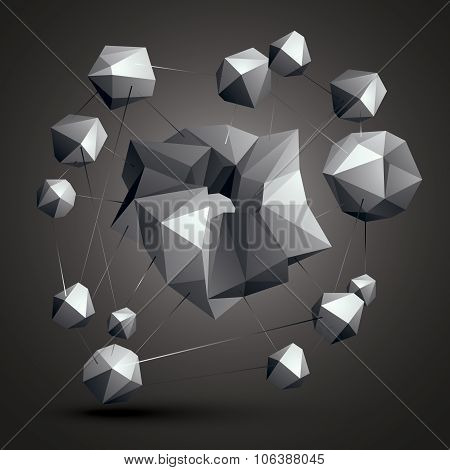 Asymmetric 3D Abstract Object, Monochrome Geometric Spatial Form. Render And Modeling. Complicated C