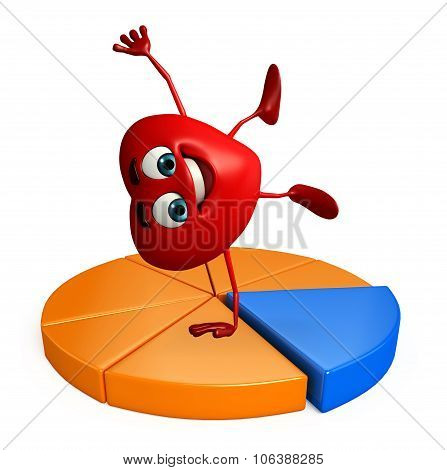 Heart Shape Character With Business Graph