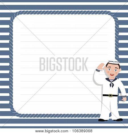 Sea style  frame  with sailor for photo, invitation, postcard. Vector