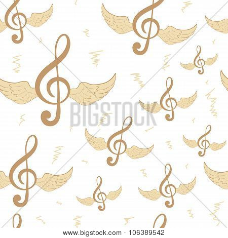 Seamless brown treble clefs