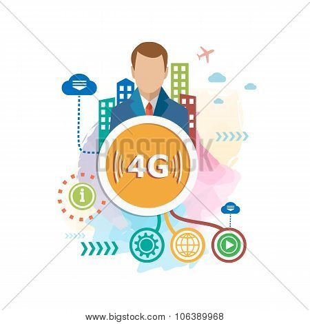 4G Sign Icon. Mobile Telecommunications Technology Symbol