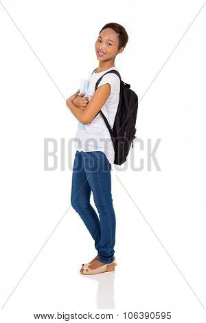 side view of african american college girl looking at the camera