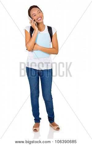 happy african college girl talking on mobile phone isolated on white