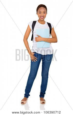 full length portrait of young female african college student on white