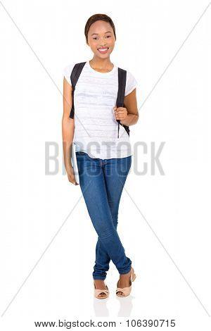 full length portrait of black female college student on white