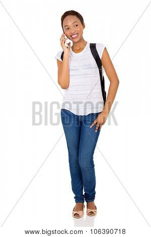 beautiful african american college student talking on cell phone