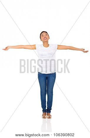 african woman with arms outstretched isolated on white background